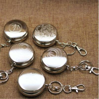 Useful Portable Pocket Stainless Steel Round Cigarette Ashtray With Keychain  Y
