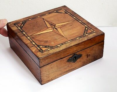 Superb Inlaid Antique Wooden Box with Hinged Lid 16 x 16 x 6.5cm. Compass Design