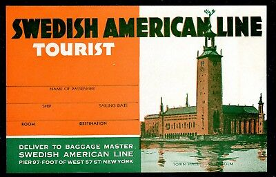 USA 1930s Poster Stamp Swedish American Steamship Lines Luggage Label 6.0""