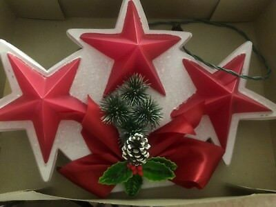 Vintage RINGALITE Christmas Twinkle Stars Lighted Blow Mold Wall Decoration HTF