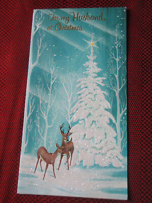 VINTAGE 1958 HUSBAND at CHRISTMAS AMERICAN GREETINGS GLITTER 2 DEER CARD signed
