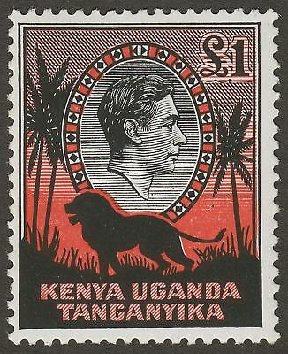 Kenya Uganda Tanganyika 1954 KGVI Lion £1 Black + Red p12½ Mint SG150b cat £18