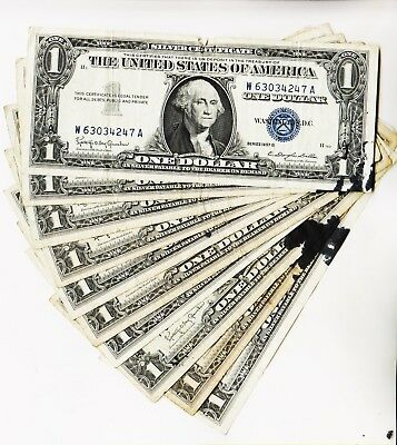 LOT OF TEN Series 1957 One Dollar Silver Certificates==Circulated ...
