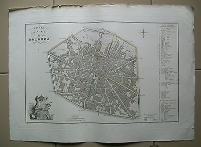 1868 Pianta Città di BOLOGNA Carta Geografica Antica Antique Print Map G.Maina