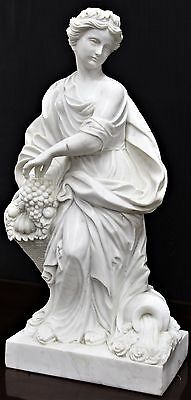 Fantastic Italian Carrara Hand Carved Statue White Marble Woman Robe w / Fruit