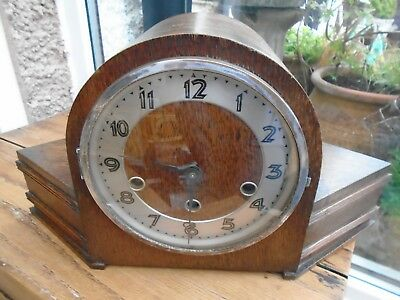 Vintage  Art Deco  Mantle Clock with Pendlum and Key for Restoration