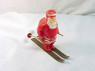 Vintage Christmas Irwin Plastic Santa on Metal Skis  4.5""