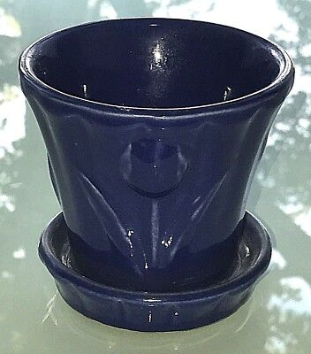 "Vintage 1950's Shawnee Pottery TULIPS Cobalt Blue Glazed 4"" Flower Pot & Saucer"