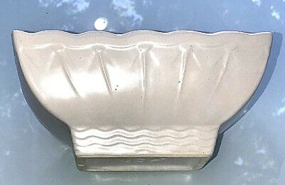 "Vintage 1950's McCoy USA Pottery White Art Deco 7"" Long Rectangular Planter Pot"