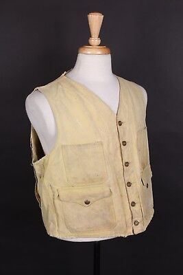Vtg 40S Filson Cotton Cruiser Waist Coat Vest Usa Mens Size 44