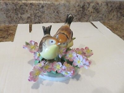 Vintage Herend Pair of Birds with Flowers on branch Porcelain figurine damaged