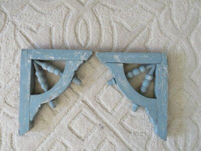 AWESOME PAIR Old Architectural CORBELS BRACKETS ORNATE Chippy BLUE Ornate PATINA