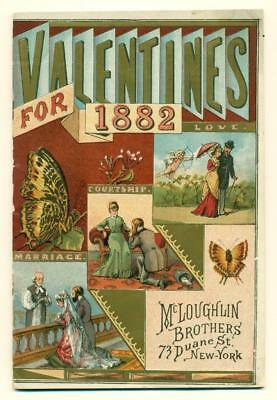 1882 VALENTINE CATALOG by McLOUGHLIN BROTHERS, NEW YORK CITY ILLUSTRATED CARD AD
