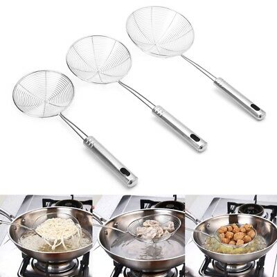 Stainless Steel Solid Spider Strainer Skimmer Ladle With Handle Kitchen Tool