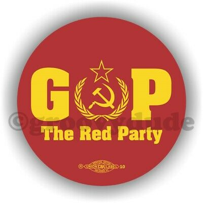 2 GOP The Red Party Russian Anti President Donald Trump Pin Pinback Button Lot