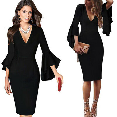 Women Fashion Autumn Casual Slim Sexy V Neck Speaker Sleeve Long Dress