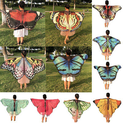 UK Children Kids Butterfly Print Wings Shawl Scarves Poncho Costume Accessory