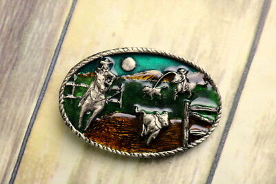 Ranch Calf Roping Belt Buckle 1986 Western Cowgirl Cowboy Green Silver Vintage