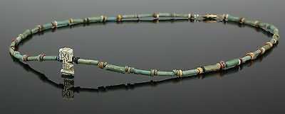 Beautiful Ancient Egyptian New Kingdom Faience Bead & Amulet Necklace (109)