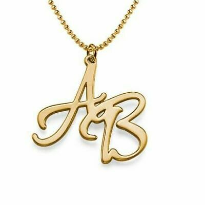 Personalised 18ct Yellow Gold Over Sterling Silver Plated Two Initials Necklace