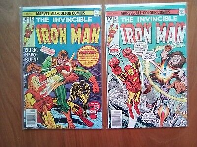 2 ISSUES OF IRON MAN #92, 93 MARVEL COMICS 1976 1st PRINTS  BOTH FINE COND