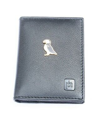 Puffin Enamel Black Or Blue Real Leather Bifold Card Holder and Wallet Gift 289
