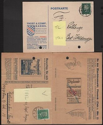 Germany Perfin Lot on Post Cards Different Design Faces