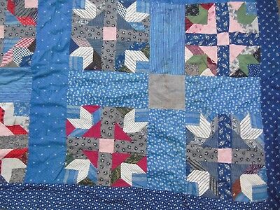 Antique Indigo Cadet Blue Turkey Red Patchwork Full Quilt Top 75 by 79