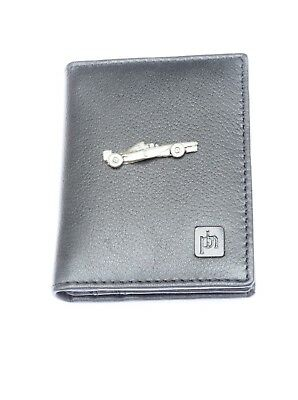 Formula One Blue or Black Real Leather Bifold Card Holder and Wallet