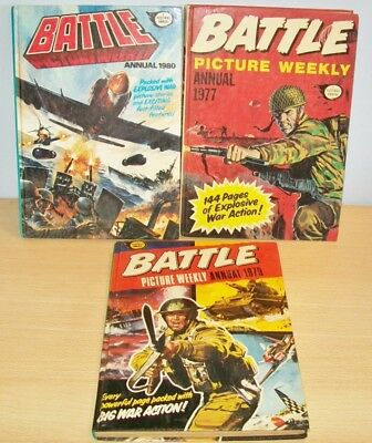 BATTLE Picture Weekly Annuals x3 - 1977/1979/1980