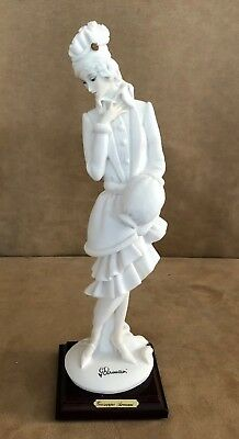 "12"" Giuseppe Armani Figurine Lady with Muff 408F Italy feather hat long skirt"