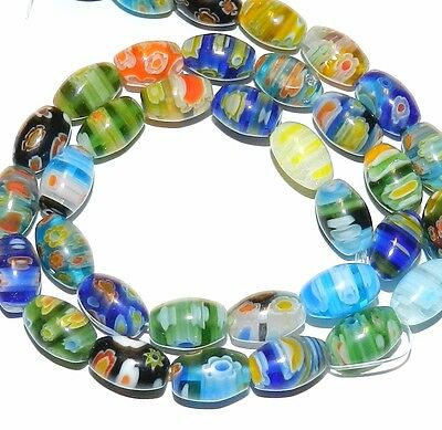 """G2463 Multi-Colored Assorted 12mm Tapered Oval Barrel Millefiori Glass Beads 16"""""""