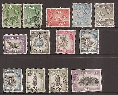 Aden 1953 QE2 first Definitives to 20 shillings top value, including shades 1811