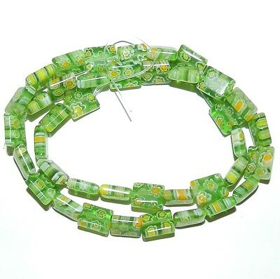 """G2991 Green with Multi-Color Flowers 10mm Rectangle Millefiori Glass Beads 15"""""""