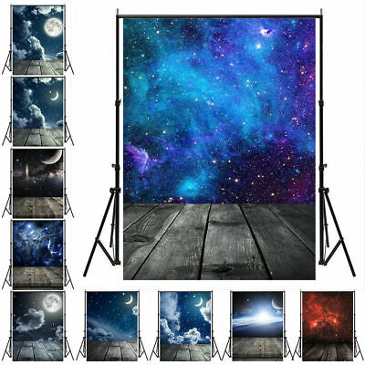 3x5/5x7FT Round Moon Star Sky Plank Wall Photography Background Photo Backdrops