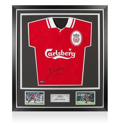 John Barnes Front Signed Liverpool 1996-98 Home Shirt In Classic Frame