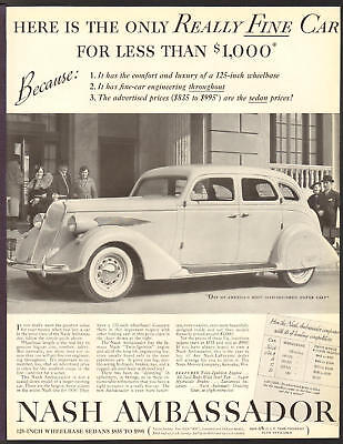 NASH Automobile MAR 1936 Ambassador Original Print Ad