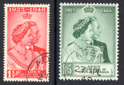 ADEN  SHIHR and MUKALLA 1948  SILVER WEDDING PAIR *** SUPERB USED