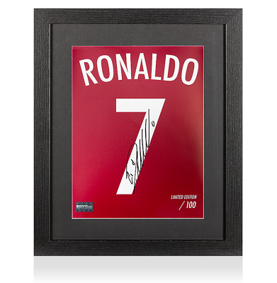 Cristiano Ronaldo Signed Portugal Shirt Print In Black Wooden Frame: Limited Edi