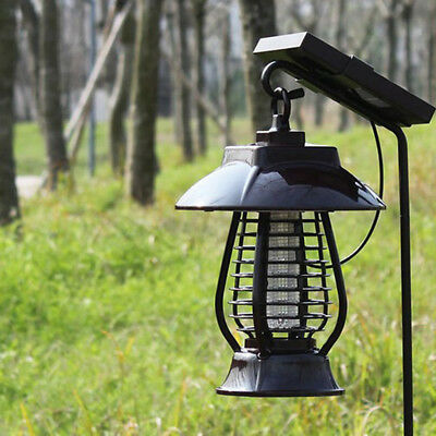 Outdoor LED Solar Power Insect Bug Zapper Lights Mosquito Control Lawn Lamp