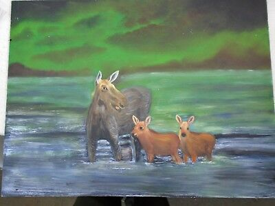Lovely Folk Art Acrylic Painting Moose & Young Calf At Waters Edge