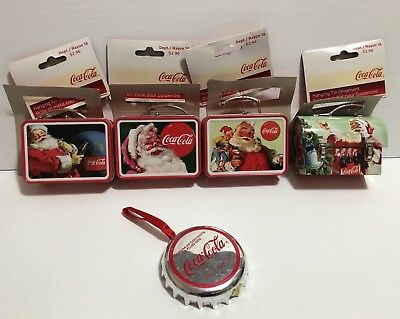 Lot of 5 Coca Cola Christmas Tree Ornaments (4 Tin Lunchboxes and A Cap) NWT
