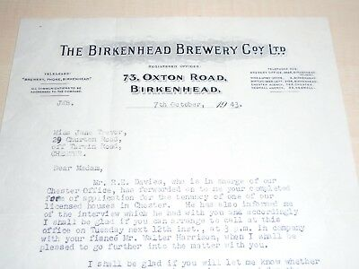 1943 Birkenhead Brewery Oxton Road Billhead/Letter Referring To Pub In Chester