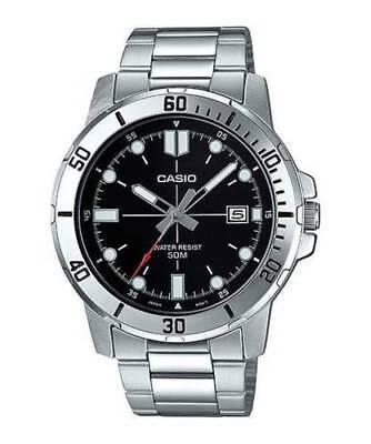 Casio MTP-VD01D-1EV Men's Stainless Steel BLACK Dial Casual Watch Date WR