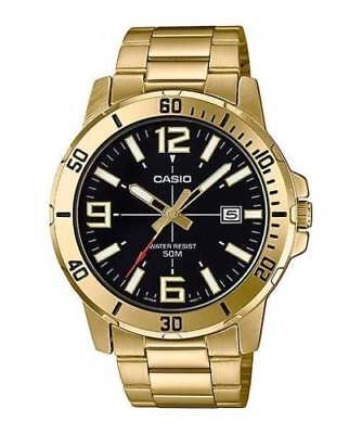 Casio MTP-VD01G-1B Men's GOLD Tone BLACK Date Dial Watch 50M WR