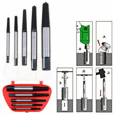 5PCS Broken Screw Bolt Remover Extractor Drill Bits Easy Out Stud Reverse Tool