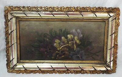 Antique PANSIES Floral Flowers OIL PAINTING On Canvas Framed SIGNED C.M. Clump