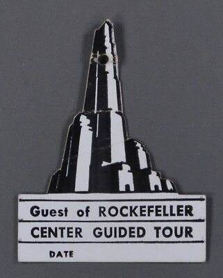 c1930s Rockefeller Center New York City Guided Tour Badge NY