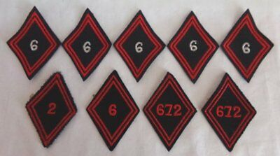 (9) French Army 2nd,6th or 9th & 672nd Engineer Regiments Diamond Patches
