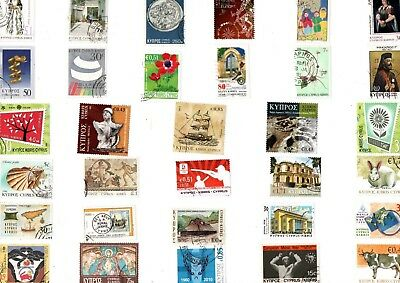A Lovely Mix Of 32 Different Good/fine Used Commemorative Stamps From Cyprus